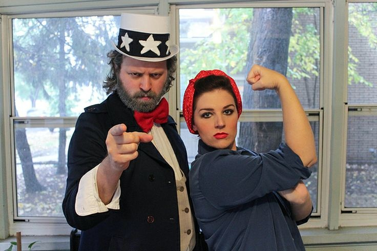 Couple dressed as Uncle Sam and Rosie the Riveter