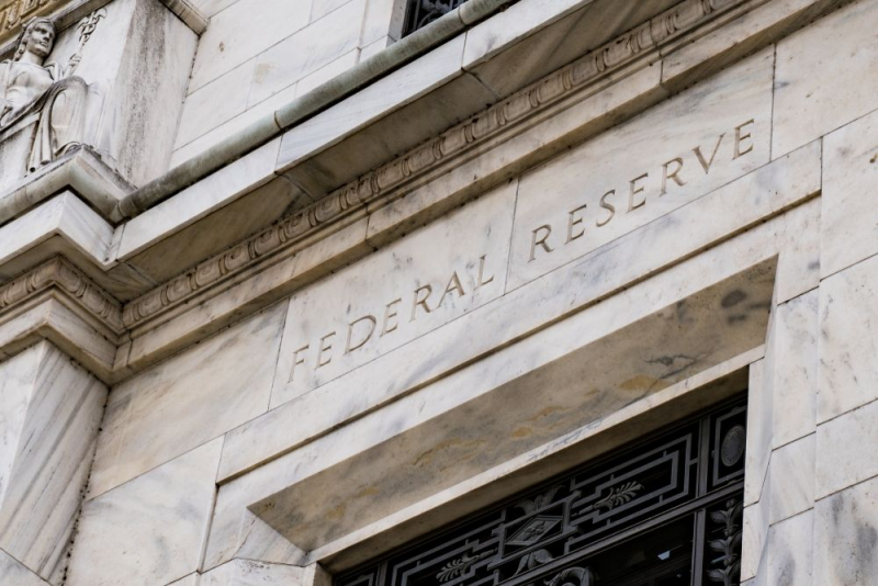 A close-up photo of the Federal Reserve Building.