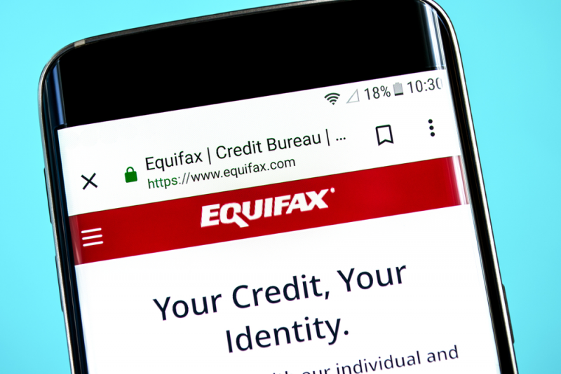 Equifax website displayed on mobile phone.